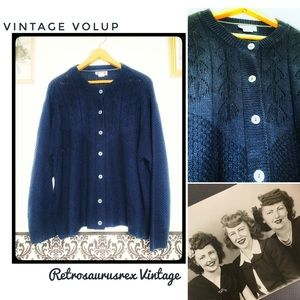 Vintage 80's does 50's Blue Cardigan Plus Size 2X